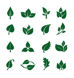 leaves logo stylized green plants for eco vector image