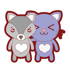 Line color fox and cat cute animal friends vector