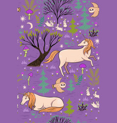 magic forest seamless pattern with unicorns vector image