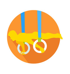 Man on gymnastic rings web button sportsman vector