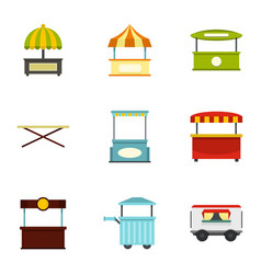 Market tent icon set flat style vector