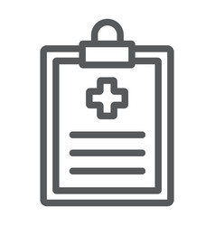 Medical record line icon hospital and medicine vector