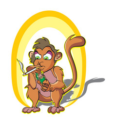 Monkey smoking vector