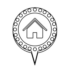 monochrome silhouette of house and circular speech vector image