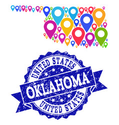 Mosaic map of oklahoma state with map pins and vector