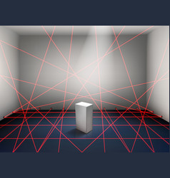 museum laser beam security system realistic vector image