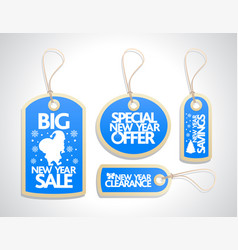 new year sale tags set blue vector image