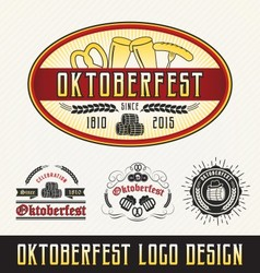 Oktoberfest celebration logo sets beer and beverag vector