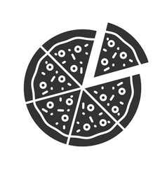 pizza with one slice separated glyph icon vector image