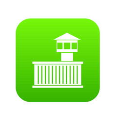 Prison tower icon digital green vector