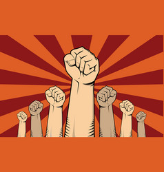 Protest concept with a lot of hand vector