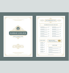 restaurant menu design and logo brochure vector image