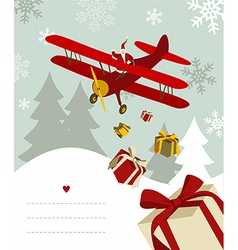 Santa Claus in airplane vector image