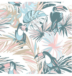 seamless pattern ink hand drawn sketch tropical vector image
