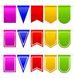 Set festival flags of different colors and shapes vector