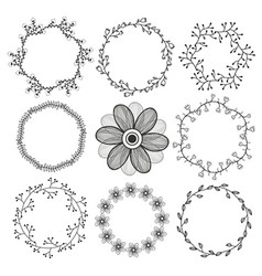 Set of circle isolated frames cute natural round vector