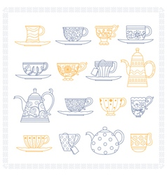 Set of teacups and teapots vector