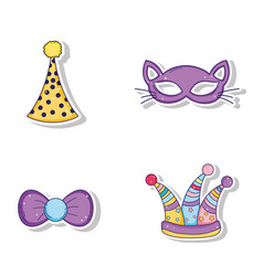 Set party hats and cat mask with ribbon bow style vector