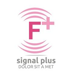 Signal letter f plus pink alphabet wireless vector