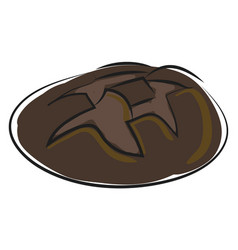 simple cartoon black bread vecot on white vector image