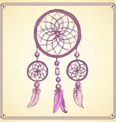 Sketch dream catcher in vintage style vector image