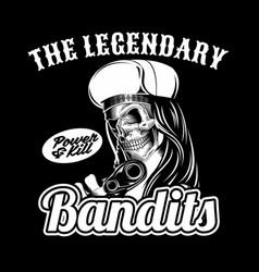 skull legendary bandit holding gun hand vector image