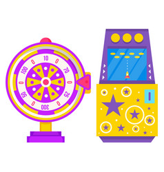 Slot machine with rocket and fortune wheel vector