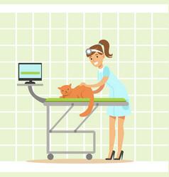 Smiling female veterinarian examining cat in vet vector