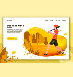 sporty man playing baseball vector image