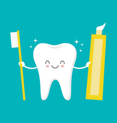 tooth holding toothpaste and toothbrush cute vector image