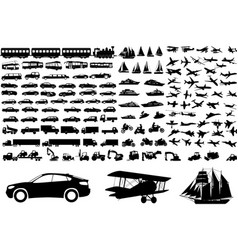 Transportation silhouettes collection vector