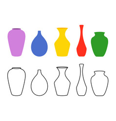 various forms vases ceramic vases collection vector image