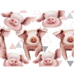 watercolor pig year pattern watercolor vector image