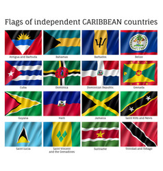 Wavy flags independent caribbean countries vector