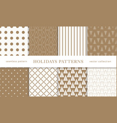 Winter holidays seamless patterns vector