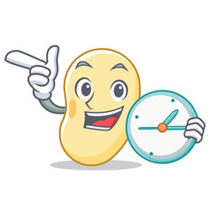 With clock soy bean character cartoon vector