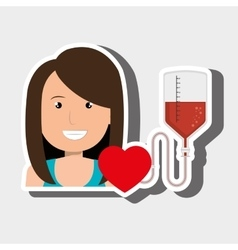 Woman blood heart red vector