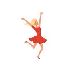Young blond girl jumping up with excitement vector