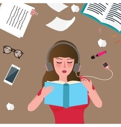 Young women reading book and listening music vector