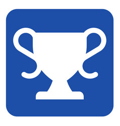 Blue white information sign - sports cup icon vector