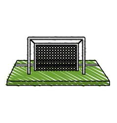 color crayon stripe cartoon soccer goal in grass vector image