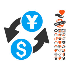 dollar yuan exchange icon with valentine bonus vector image vector image