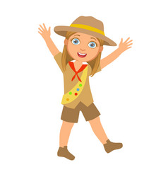 Happy scout girl raising her arms up a colorful vector