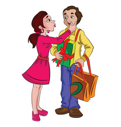 man with presents for his sweetheart vector image vector image