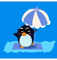 Penguin with Umbrella on the Iceberg vector image vector image