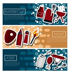 Set of Horizontal Banners about Barbecue vector image vector image