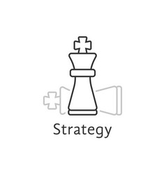 strategy with thin line chess king vector image