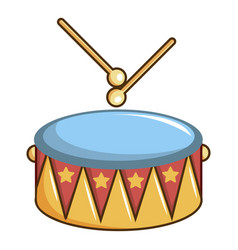 colorful drum and drumsticks icon cartoon style vector image vector image