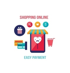 Online shopping e-commerce Mobile payment vector image vector image