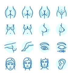 plastic surgery body parts face correction vector image vector image